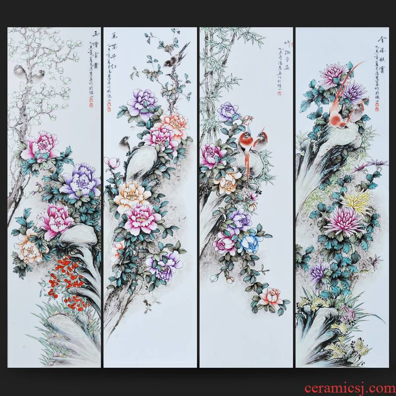 Jingdezhen ceramics Feng Huiying hand - made painting of flowers and four screen sitting room adornment porcelain plate painting murals household furnishing articles