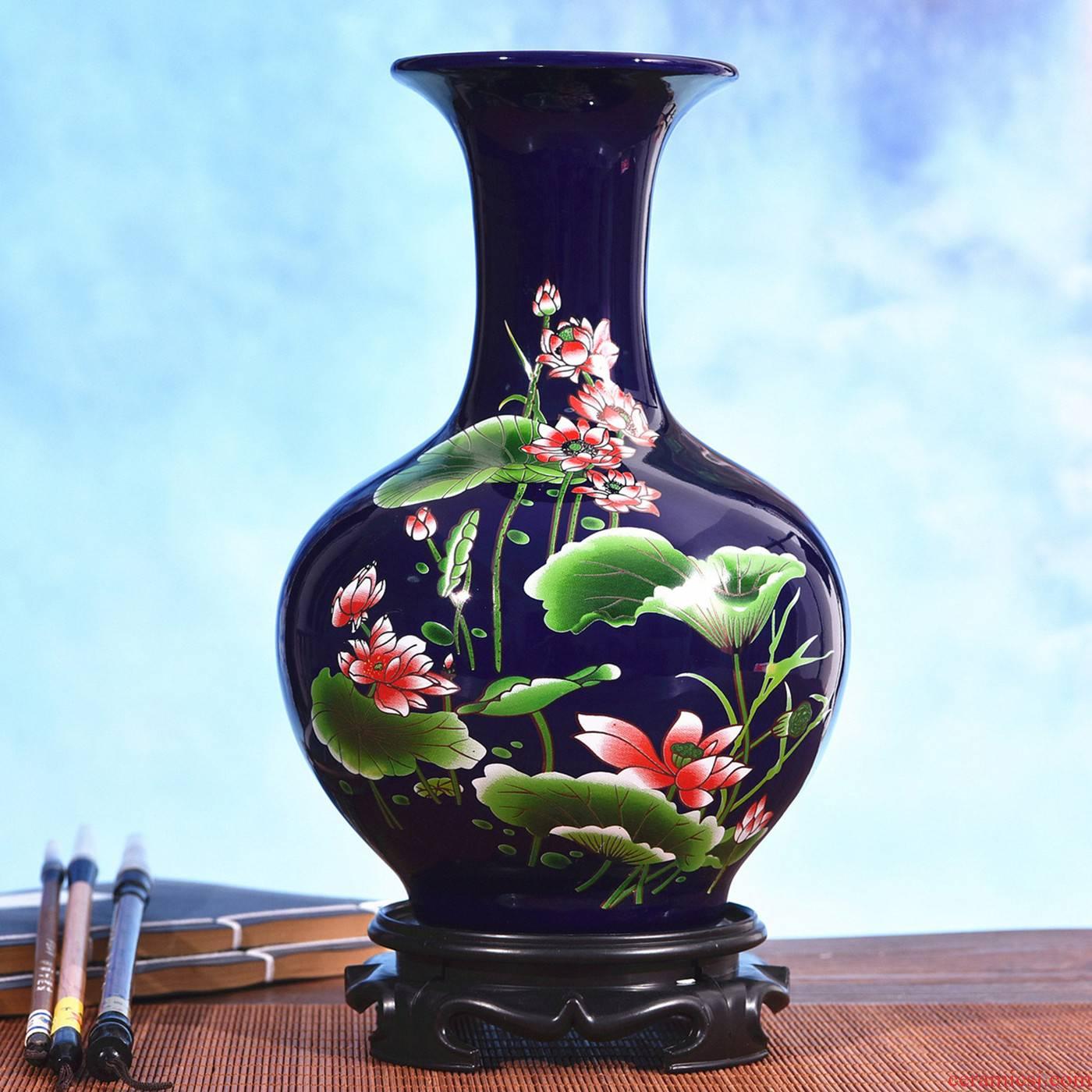 Jingdezhen ceramics XFX blue yan glaze enamel lotus flower vase household adornment handicraft furnishing articles gift