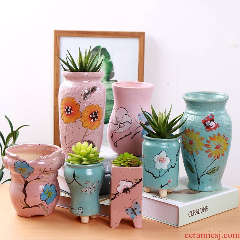 Paragraphs high fleshy old running the mage, plant high ceramic flower POTS and colorful biscuit firing coarse pottery hand - made ceramic green plant POTS