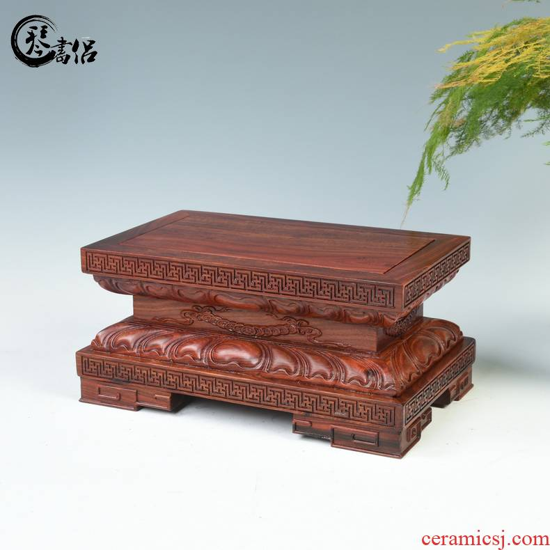 Lotus red wingceltis woodcarving guanyin Buddha base solid jade stone furnishing articles base with rectangular wooden Buddha