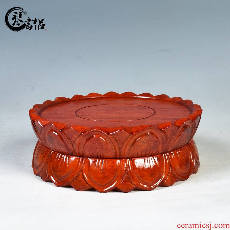 Red lotus guanyin base solid wood round the base of Buddha base wooden woodcarving handicraft furnishing articles