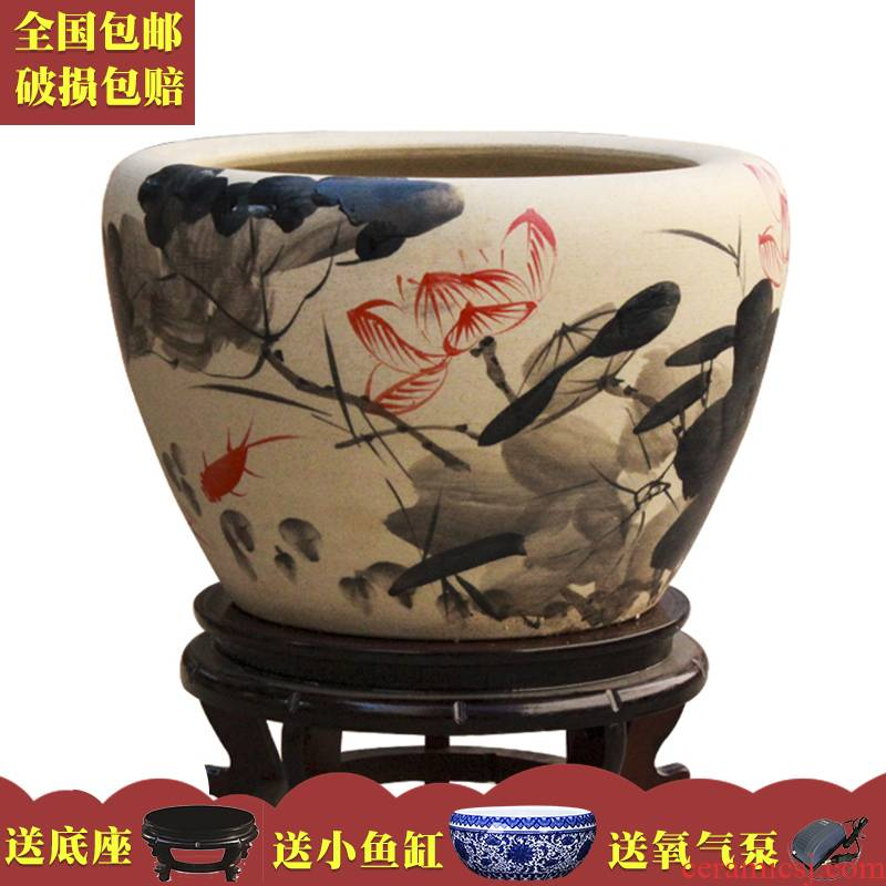 Art soul package mail collectors jingdezhen ceramic aquarium creative violet arenaceous basin tortoise cylinder balcony place lotus feng shui
