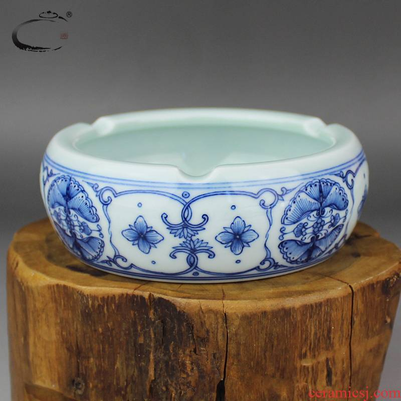 Restoring ancient ways and auspicious jingdezhen large ceramic hand - made porcelain ashtrays home furnishing articles decorate gifts tea accessories