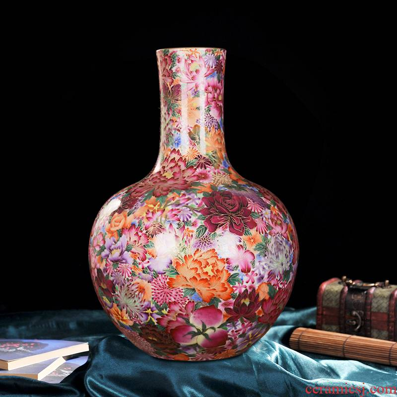 Jingdezhen ceramics into a high - end antique gold silk flower live celestial sitting room place vase home decoration process