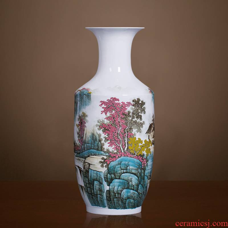 Famous master of jingdezhen ceramics hand - made pastel landscape of large vases, Chinese style sitting room adornment is placed
