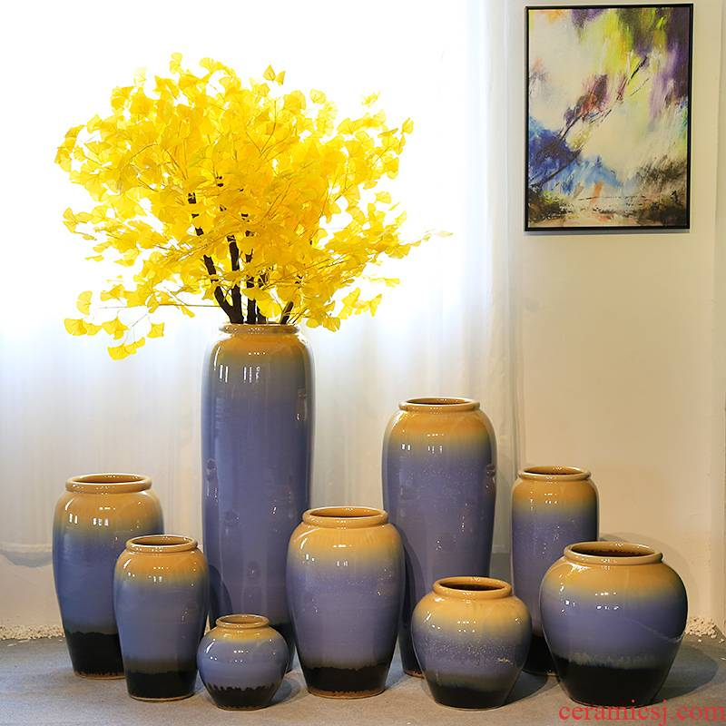 New Chinese style decoration of jingdezhen ceramics is increasing in sitting room club flower vase in the hotel lobby furnishing articles simulation flower flower