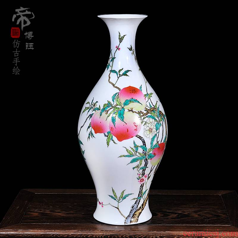 Jingdezhen ceramic crafts antique hand - made pastel peach olive vase vase home furnishing articles in the living room