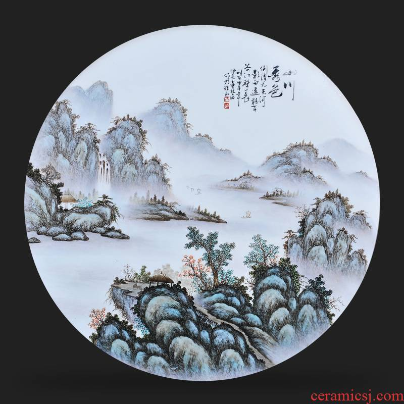 Jingdezhen ceramics Dong Lin, hand - made mountains and sea xiuse porcelain plate painter adornment picture hanging in the sitting room is placed