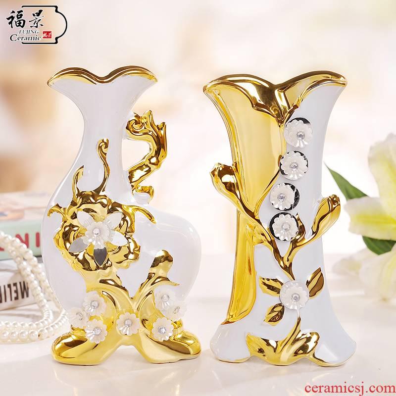The scene of jingdezhen ceramic European - style gold - plated household I sitting room adornment flower vase furnishing articles of handicraft