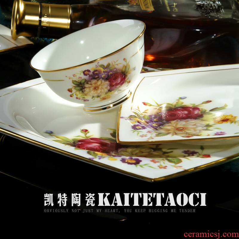 Ou jingdezhen tableware suit household high - grade ipads porcelain bowls bowl dish up phnom penh dish suit contracted combination of Chinese style