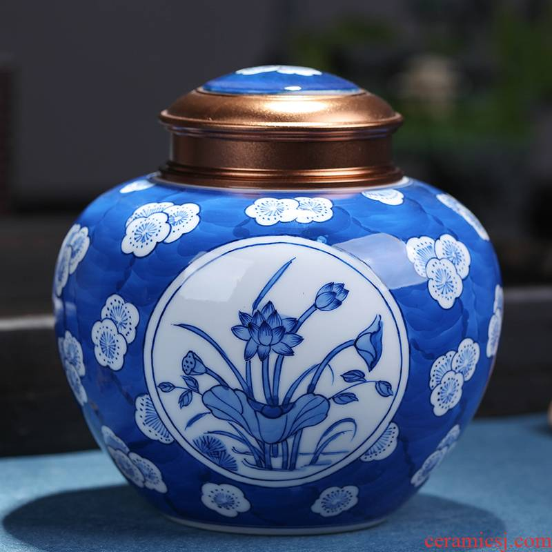 Jingdezhen blue and white hand - made ceramic lotus packing gift box sealing puer tea general 2 two household savings