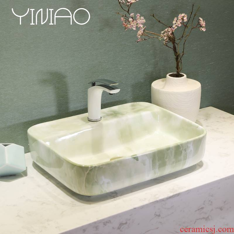 Jingdezhen art lavatory modern green marble basin bathroom sink basin stage basin