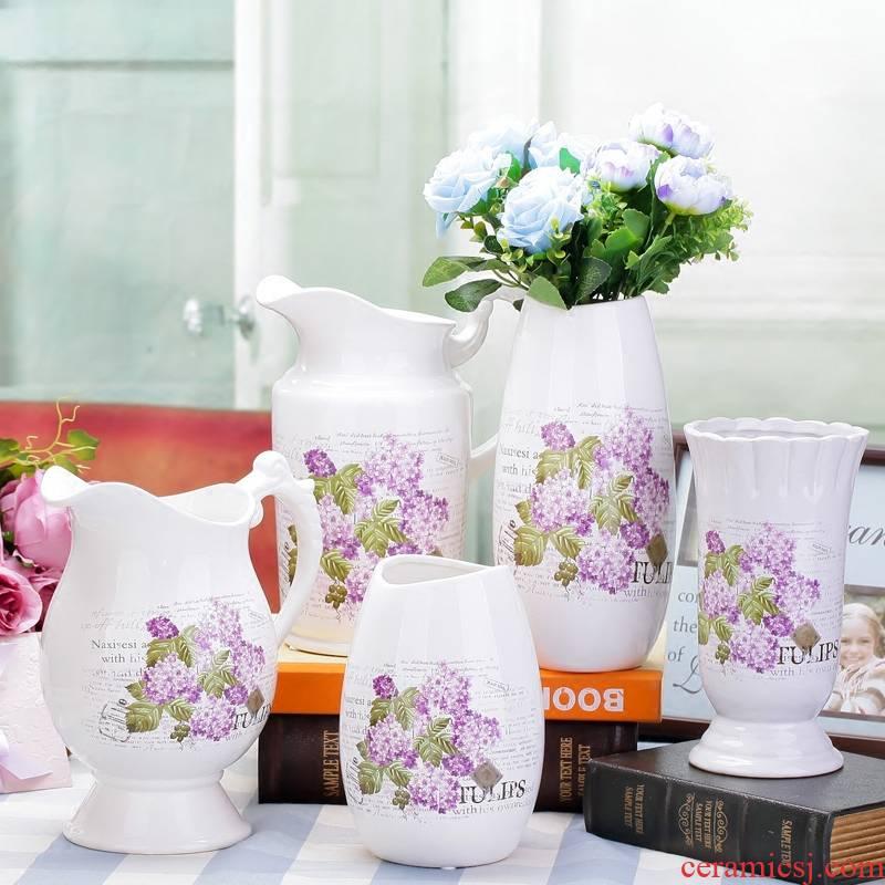 Merry jingdezhen ceramics furnishing articles sitting room adornment handicraft European modern Mediterranean white vase M6