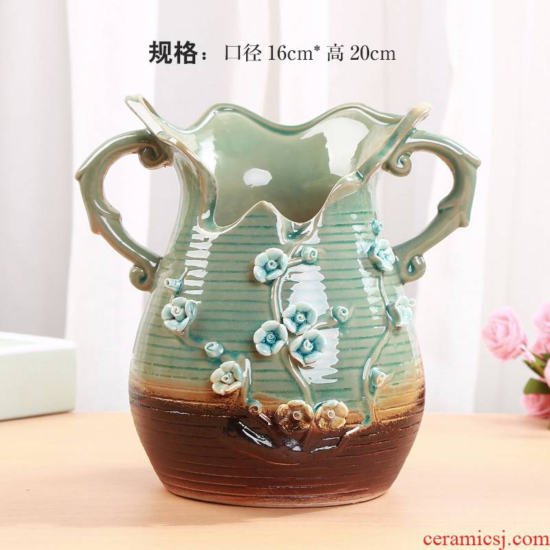 High European style ceramic flower pot coarse pottery retro mage meat meat meat old running the plant POTS, large caliber POTS