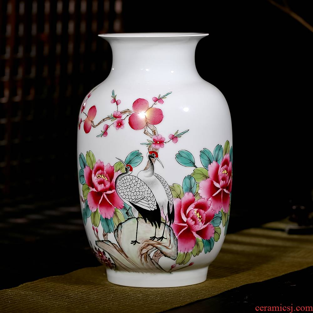 Jingdezhen ceramics famous master hand draw pastel wealth longevity vases, flower receptacle modern new Chinese style furnishing articles