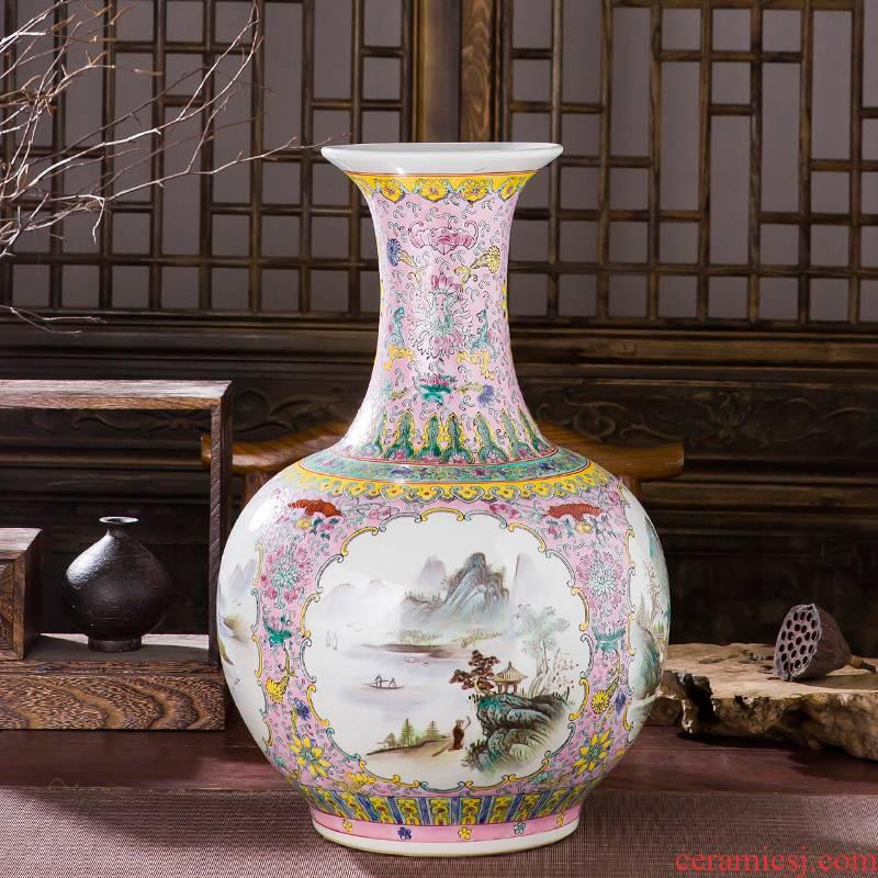 Jingdezhen ceramics hand - made pastel antique imitation porcelain landing big vase qianlong year sitting room adornment is placed
