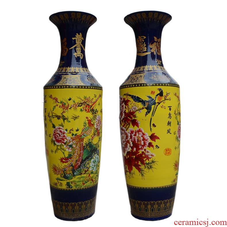 Jingdezhen ceramics ancient pastel prevention of large vase furnishing articles sitting room of Chinese style hotel villa home decoration