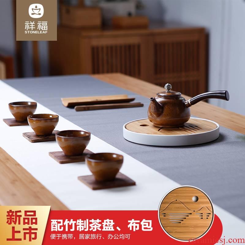 Auspicious fu tea sets ceramic kung fu tea set of coarse pottery Japanese contracted side put the pot of tea set is suing travel
