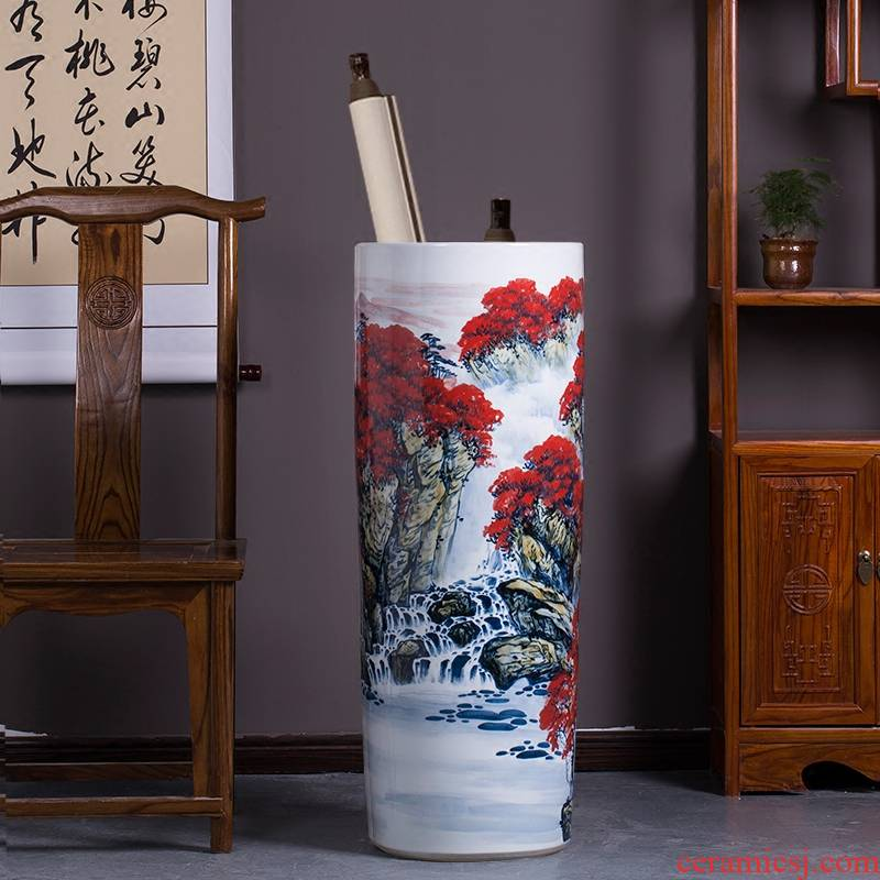 Jingdezhen ceramic hand - made sitting room adornment is placed high quiver of large red vase word calligraphy and painting scroll cylinder
