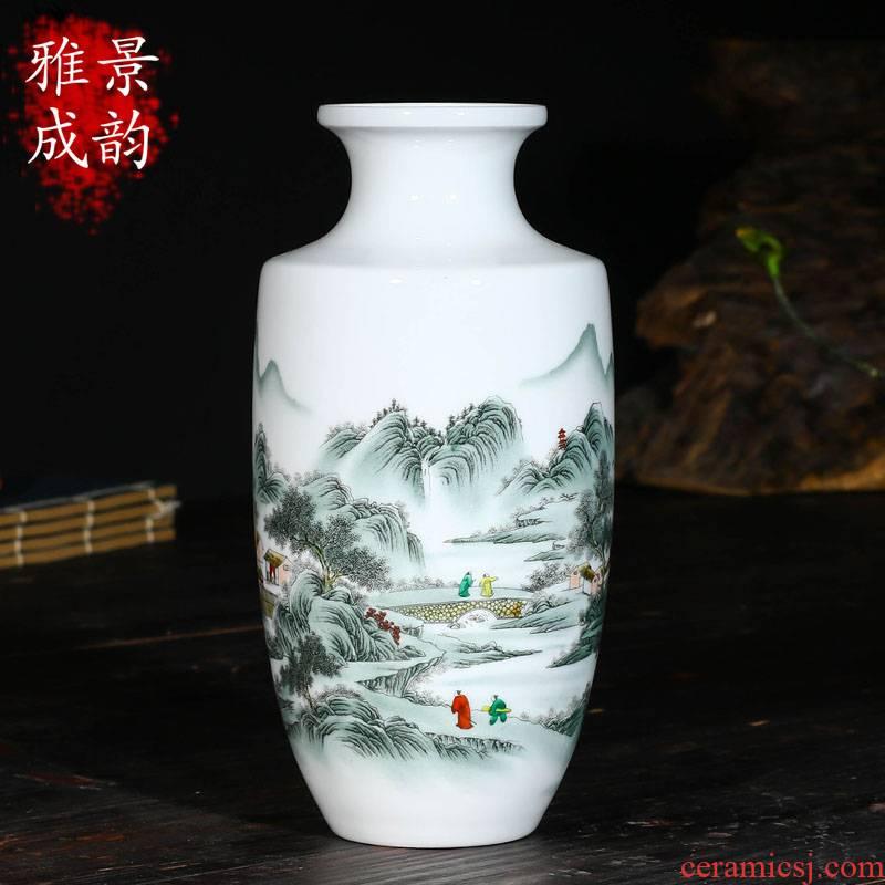 Jingdezhen ceramics hand - made Chinese vase household adornment art crafts home sitting room adornment