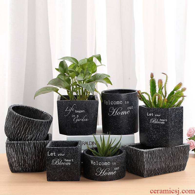 Cement meaty plant POTS ceramic coarse pottery breathable flowerpot green plant vessels potted orchids green plant POTS