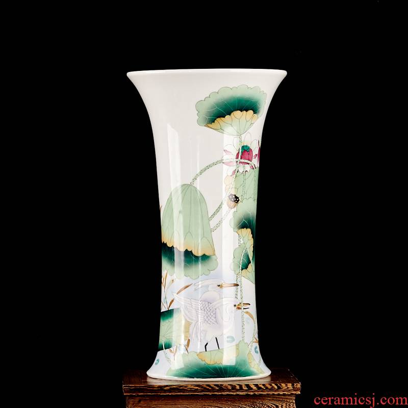 Famous master of jingdezhen ceramics hand - made powder enamel vase home furnishing articles c136 sitting room adornment porcelain arts and crafts