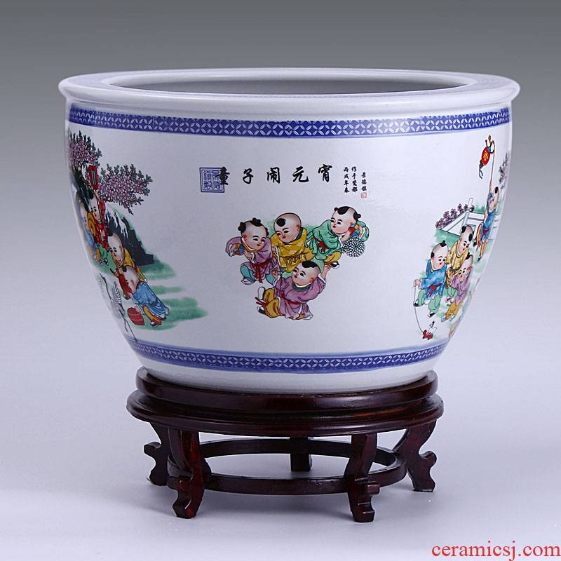 Jingdezhen ceramic filter tank large fountain tortoise cylinder goldfish bowl lad yuanxiao