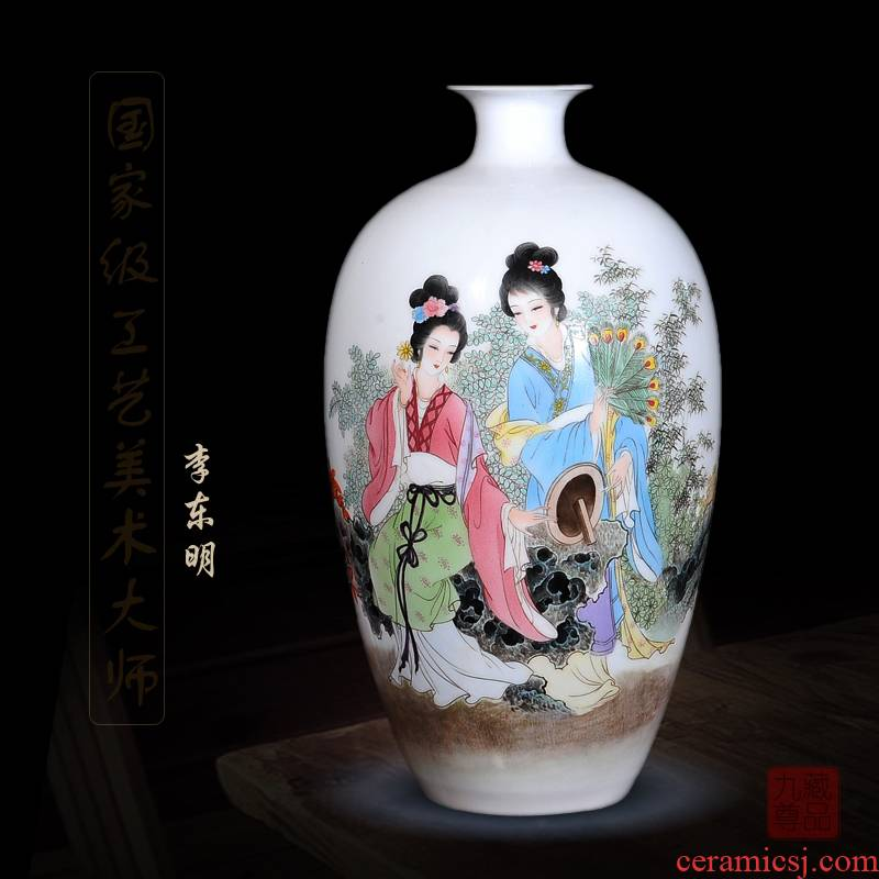 Jingdezhen ceramics dong - Ming li hand - made enamel vase as beauty as home sitting room handicraft furnishing articles