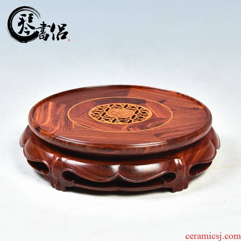 Pianology picking mahogany base round flower pot base solid wood home decoration wooden craft wooden furnishing articles
