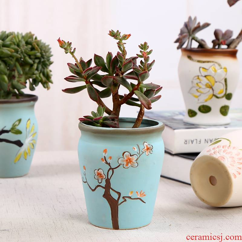 Ou more meat meat ceramic flower pot hand - made meaty plant flower pot green plant POTS dry flower vases, interior furnishing articles