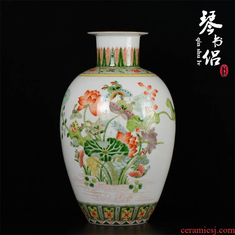 Pianology picking vibration jingdezhen hong jue master hand made porcelain vases, home act the role ofing reflected, lotus another red color bottle