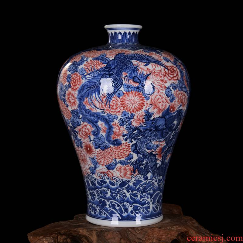 Jingdezhen high - end antique hand - made blue - and - white ceramics longfeng vase sitting room home decoration craft mei bottles of furnishing articles