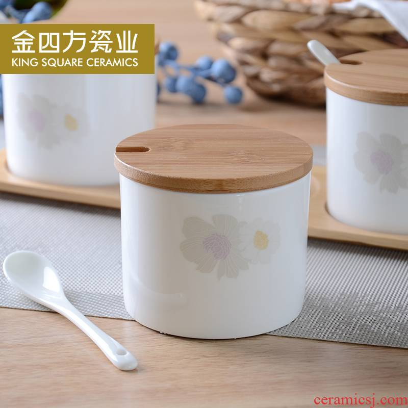 Gold square creative ipads ceramic practical bamboo home with run kitchen condiment jar caster box combination suit