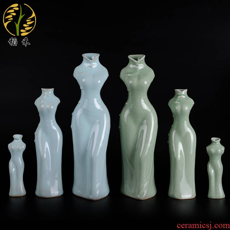 Creative your up craftwork household contracted sitting room office furnishing articles decorative porcelain ceramic cheongsam vase Chinese wind