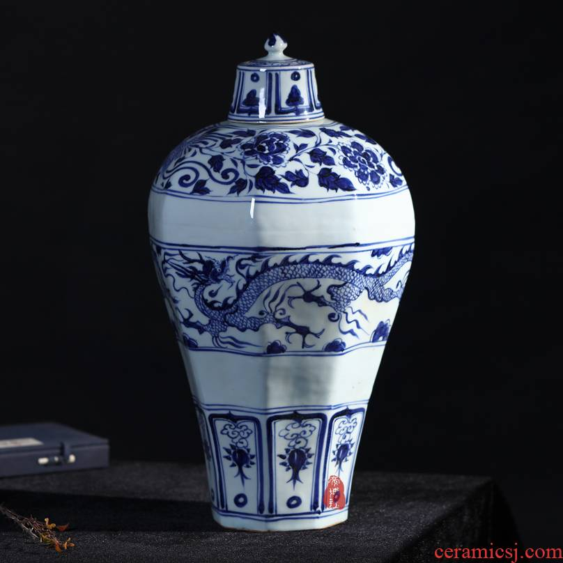 Jingdezhen ceramics antique hand - made Ming yuan blue and white porcelain dragon vase sitting room home furnishing articles
