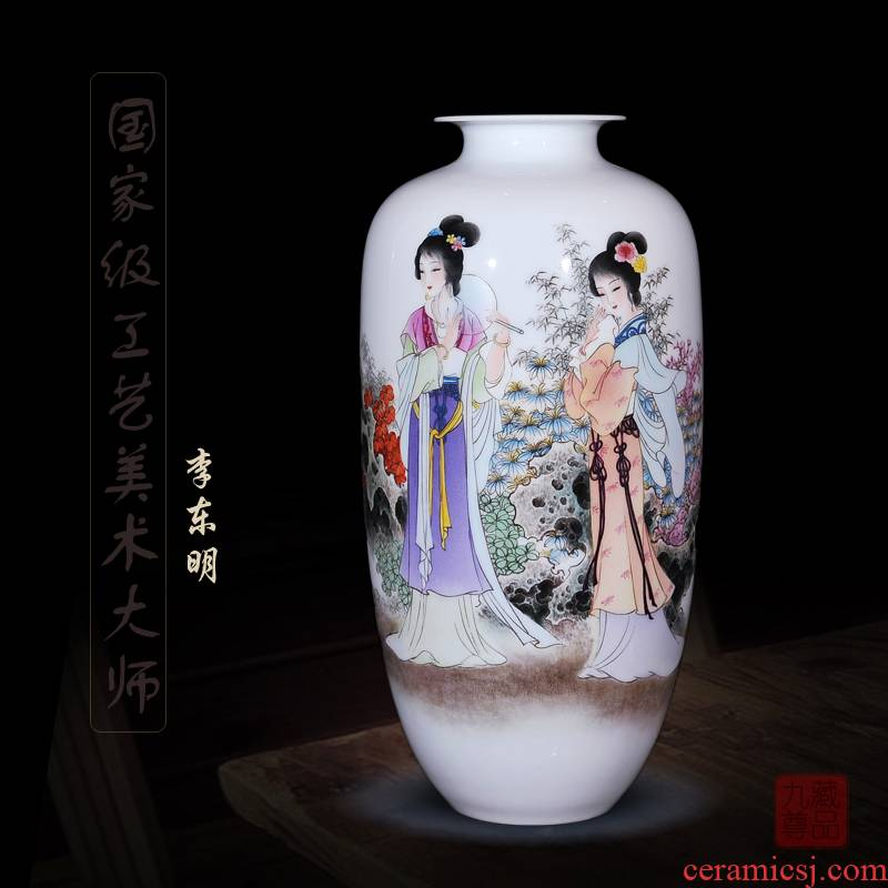 Jingdezhen ceramics dong - Ming li hand - made enamel vase cui pomelo yingxiang household act the role ofing is tasted handicraft furnishing articles