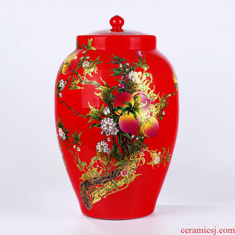 Jingdezhen porcelain with cover to barrel peach storage tanks 20 jins 30 jins 50 jins jars of oil tank