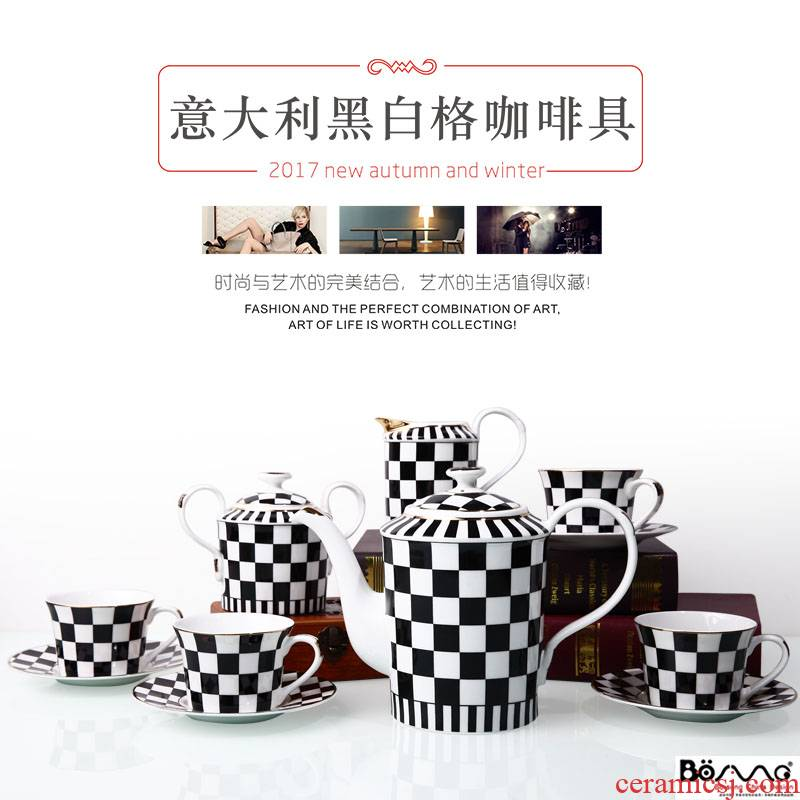 European ceramic coffee set English afternoon tea set in Italy, black and white case safflower tea saucer gift box packaging sales
