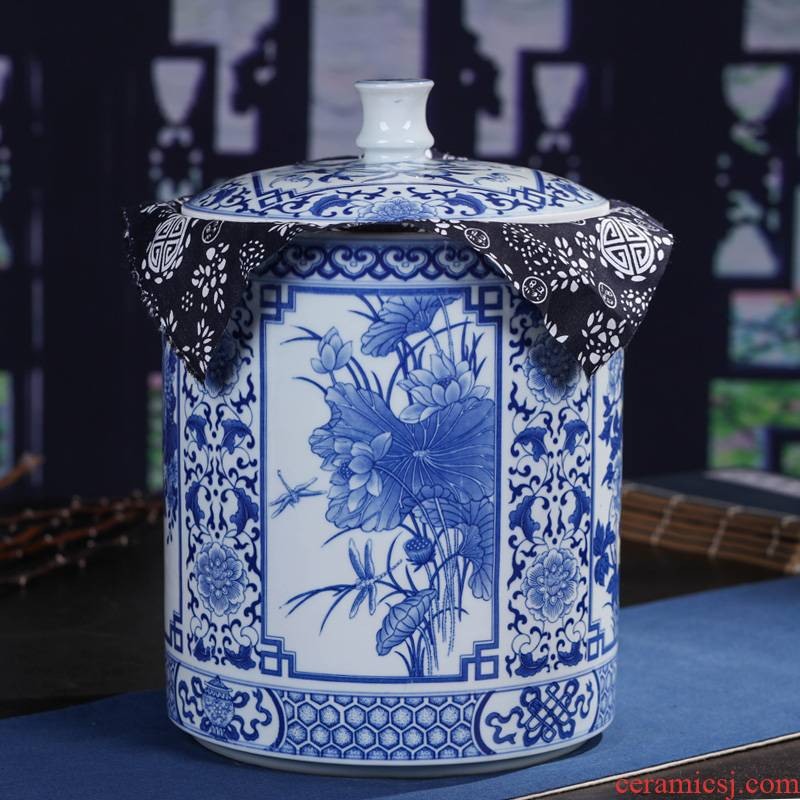 Jingdezhen ceramic tea pot pu 'er tea tea tea cake box seal pot general household size