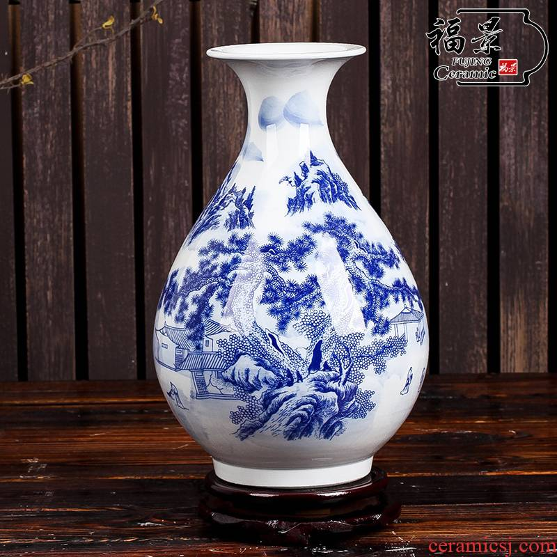 Vase okho spring furnishing articles contracted modern home decoration decoration landscape of blue and white porcelain ceramic Chinese style picture