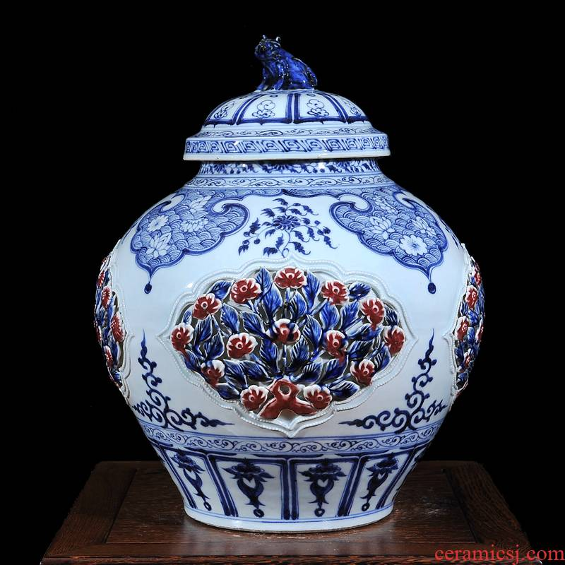 Jingdezhen ceramics archaize youligong with cover vases, antique collection classical household handicraft furnishing articles