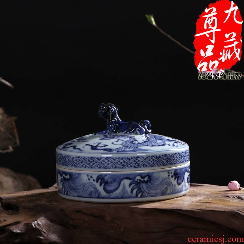 Jingdezhen ceramics imitation of yuan blue and white porcelain dragon grain storage tank and the body of the vase household adornment handicraft furnishing articles