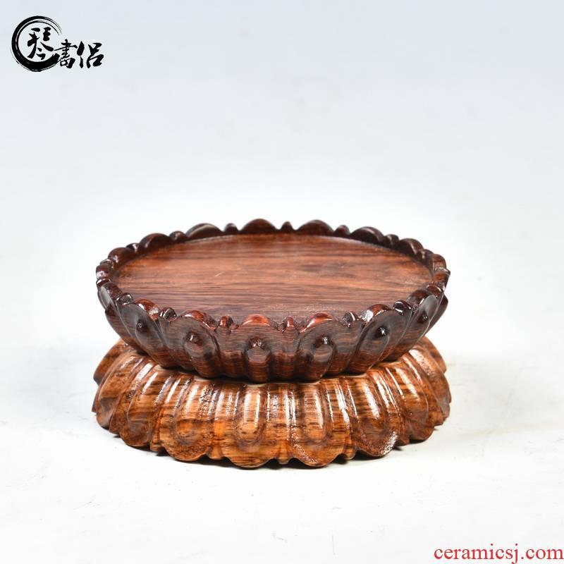 Pianology picking rosewood carving lotus pedestal mahogany round solid wood base guanyin Buddha base base