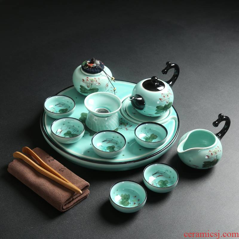 Porcelain heng tong kung fu tea set celadon suit household ceramics girder of a complete set of ceramic tea tray was a pot of tea cups