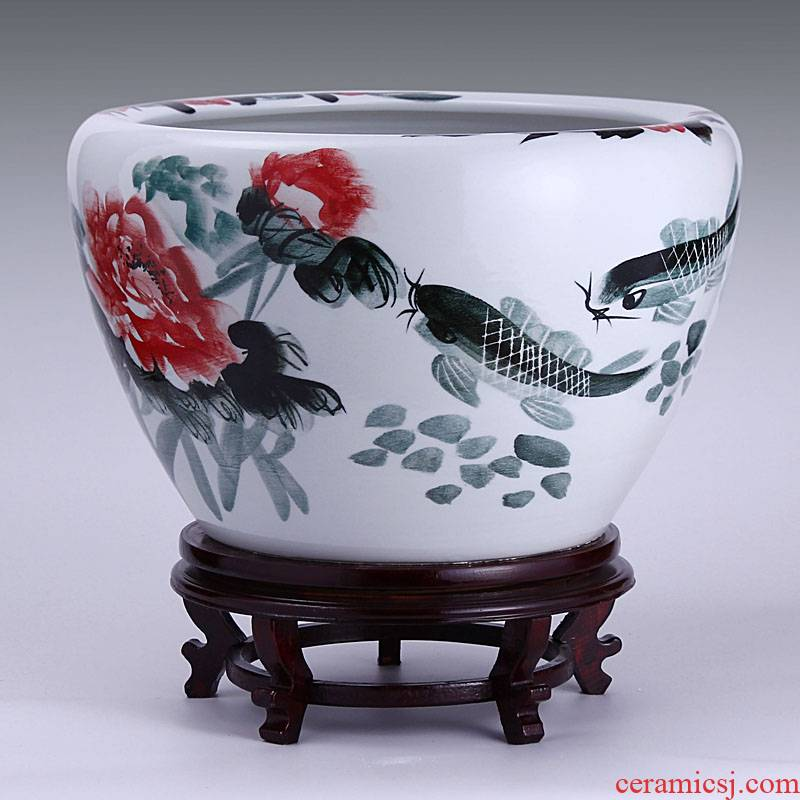 Jingdezhen ceramic filter tank large fountain tortoise cylinder goldfish bowl in successive years