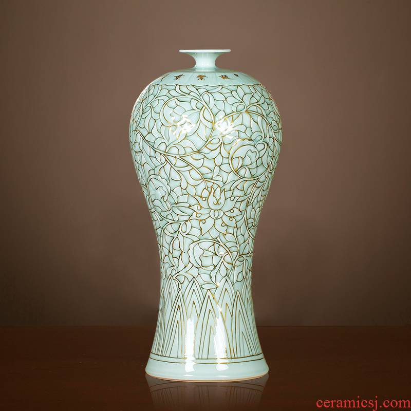 Jingdezhen ceramics vase the see colour blue glaze decorations rich ancient frame place large new Chinese style living room office