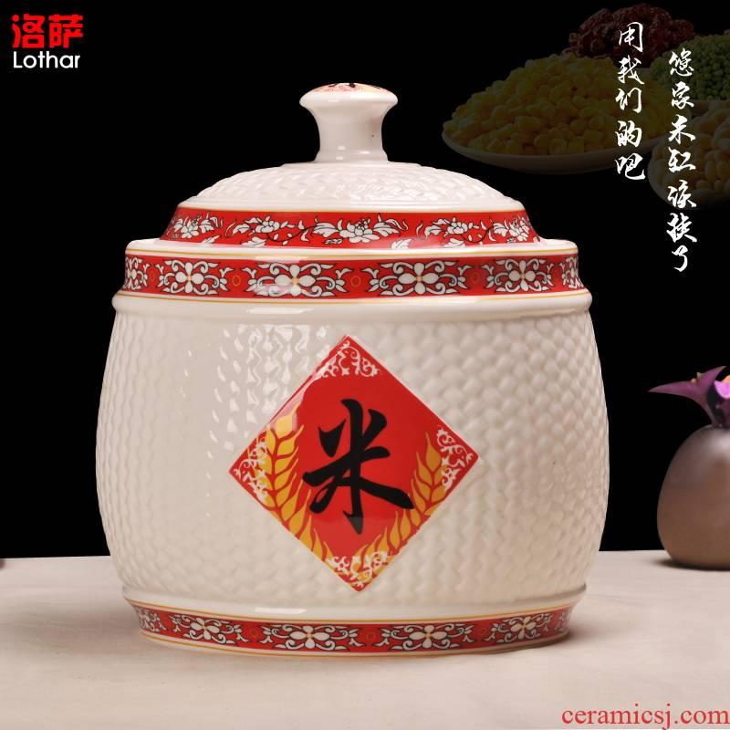 Jingdezhen ceramic barrel ricer box seal pot 15 pounds 25 kilo meters box of grain storage tank tea meters box jar jar
