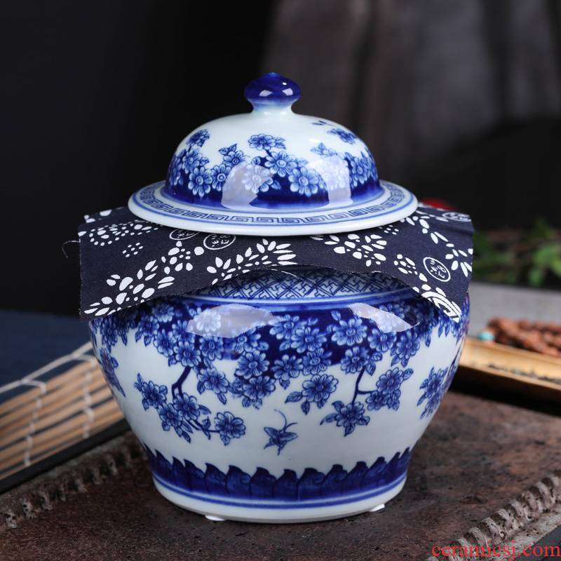 Jingdezhen ceramic tea pot wake receives pu 'er tea pot moistureproof box household sealed jar