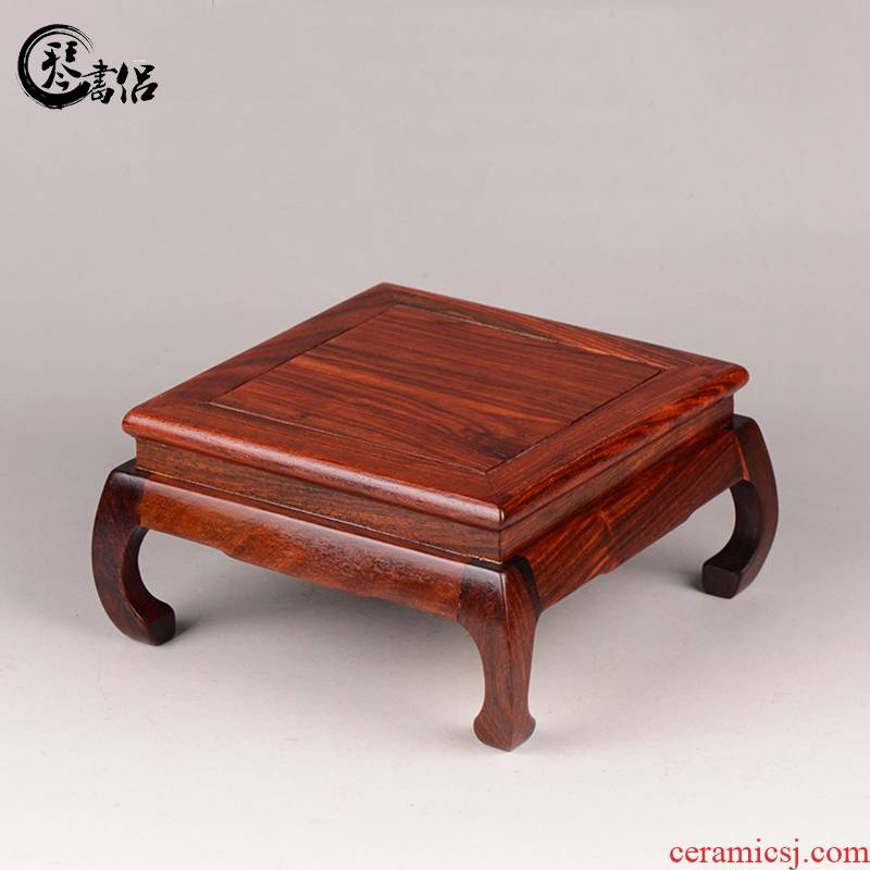Pianology picking red rosewood carving stone flower miniascape of bright type square table base are it base furnishing articles of handicraft