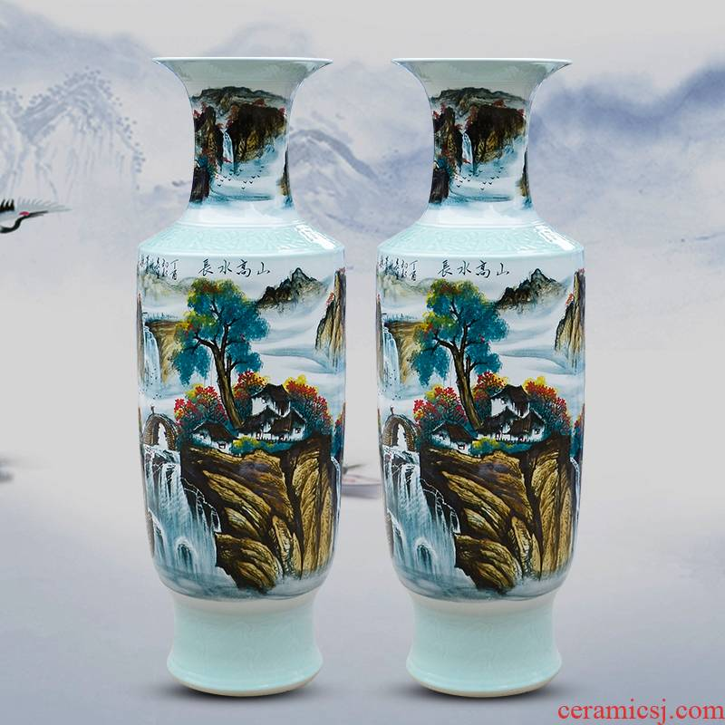 Jingdezhen ceramic hand - made pastel of large vase furnishing articles high mountain water long sitting room adornment hotel opening gifts